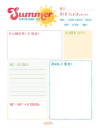 summer journal printable